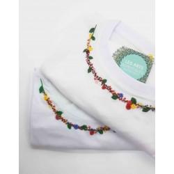 Tee-shirt blanc col Fleuri